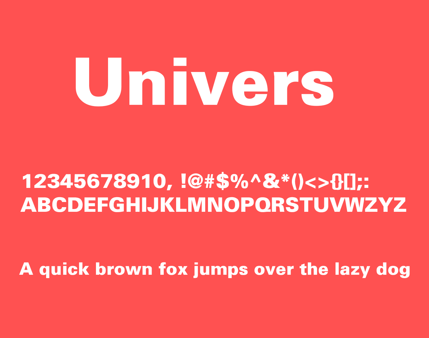 univers font style