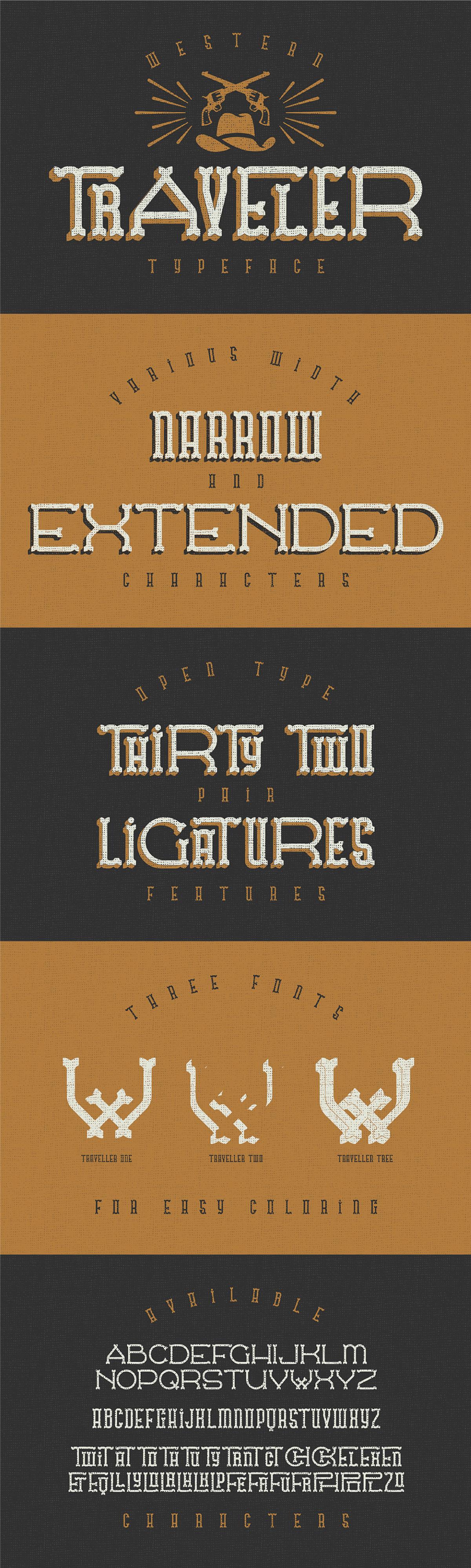 traveller free western typeface