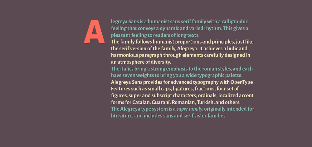 Alegreya Sans Font Family 2